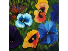 "Flowers in my Garden - Oils on canvas 51cm x 51cm (20"" x 20"") £850"