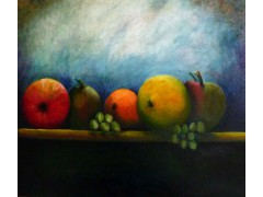 "Fruit on a Shelf - Oils on canvas 76cm x 61cm (30"" x 24"") £1450"