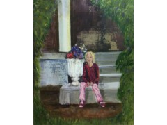 "Young Girl in an Old Garden - Mixed media on board 41cm x 51cm (16"" x 20"") £850"